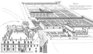 Château de Blois et jardins vers 1570, Dessin de Jacques Androuet du Cerceau