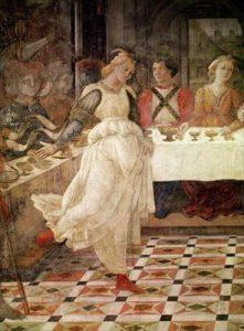 Filippo Lippi, détail de La danse de Salomé, fresque, Duomo de Prato, 1464
